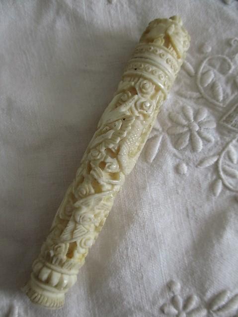 Chinese Carved Bone Needle Case Rod Naylors Antique Restoration