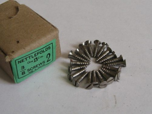 "Screws small countersunk steel 3/8"" long."
