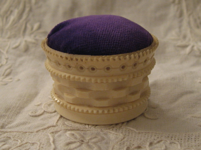 Victorian bone basket pincushion