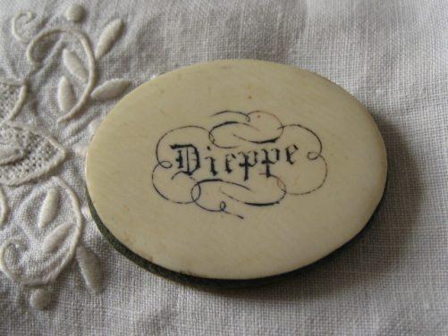 Antique ivory sewing pinwheel souvenir Dieppe