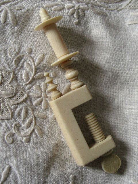 Antique nineteenth century ivory sewing clamp