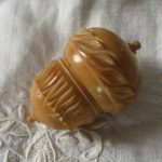Antique tagua nut thimble holder
